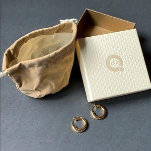 """NIB QVC Stainless Steel Hoop Earrings 1"""" Gold Tone"""